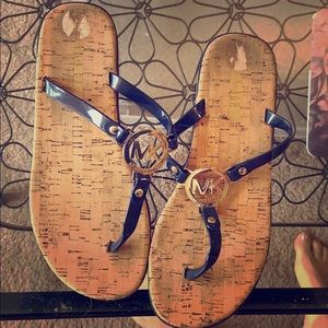 Gently used MK Navy Thong Sandals!